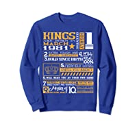 39th Birthday Gift Kings Born In March 1981 39 Years Old Shirts Sweatshirt Royal Blue