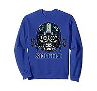Seattle Football Helmet Sugar Skull Day Of The Dead T Shirt Sweatshirt Royal Blue