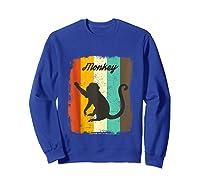 Monkey Shirt Retro 70s Vintage Animal Lover Art Design Tank Top Sweatshirt Royal Blue