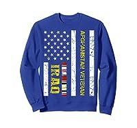 Proud Iraq Afghanistan Veteran Flag Gifts For Veteran Day T Shirt Sweatshirt Royal Blue