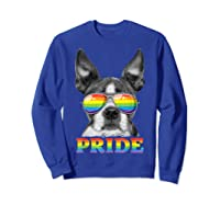 Boston Terrier Gay Pride Lgbt Rainbow Flag Sunglasses Lgbtq T-shirt Sweatshirt Royal Blue