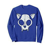 Spooky Cat Skull Halloween Creepy Horror Kitty Skeleton Face T Shirt Sweatshirt Royal Blue