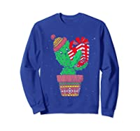 Cactus Christmas Tree Gift Santa Xmas Succulent Plant Lover T-shirt Sweatshirt Royal Blue