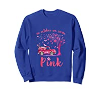 In October We Wear Pink Truck And Pumpkin Breast Cancer Tank Top Shirts Sweatshirt Royal Blue