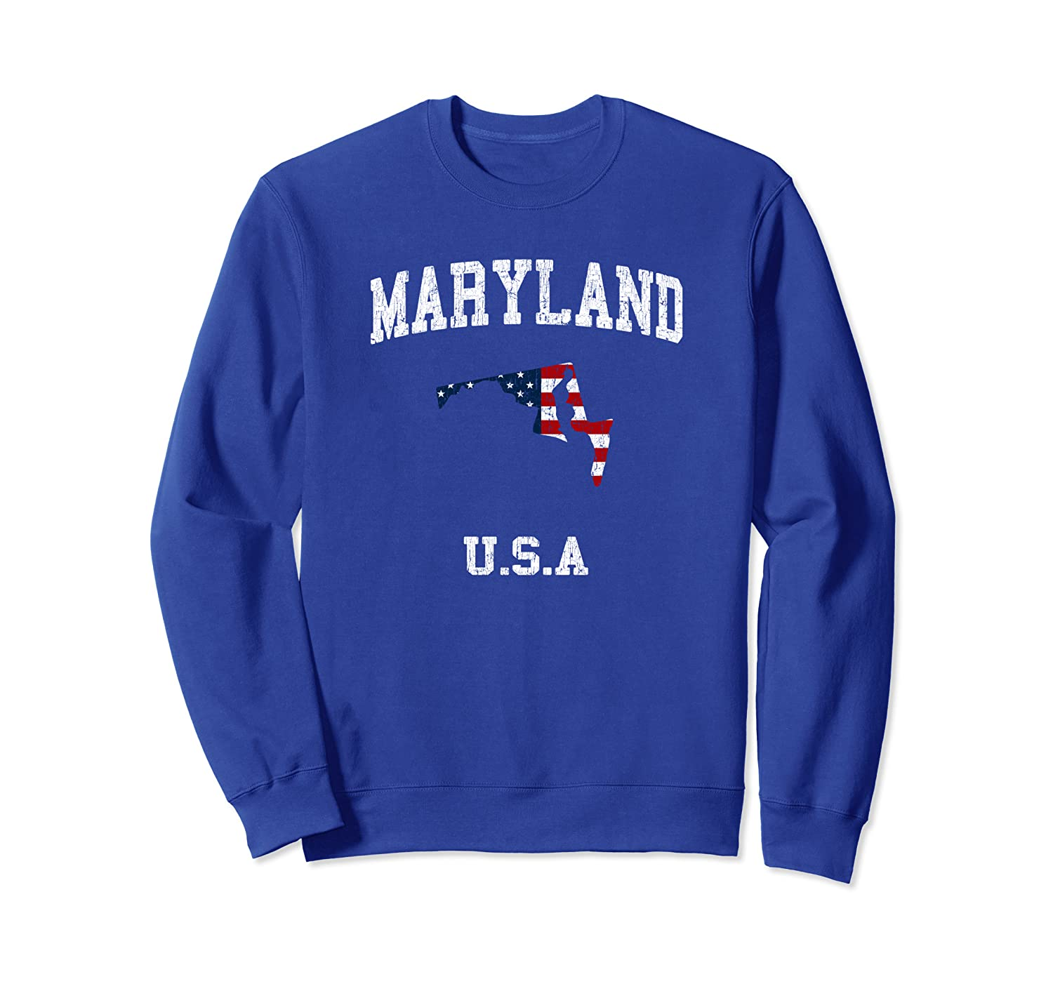 Vintage Maryland MD Distressed Map USA Flag Sweatshirt-TH