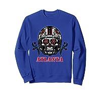 Atlanta Football Helmet Sugar Skull Day Of The Dead T Shirt Sweatshirt Royal Blue