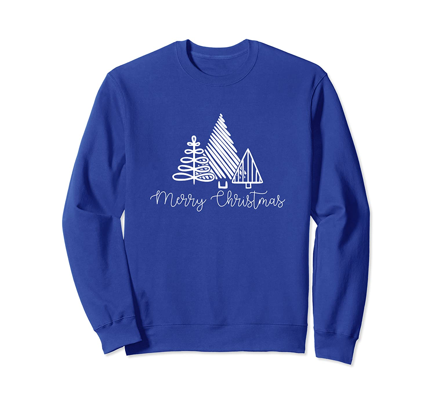 Merry Christmas Trees Gift for Her Cute Simple Family Sweatshirt