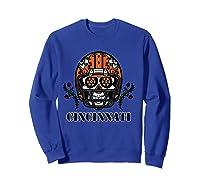 Cincinnati Football Helmet Sugar Skull Day Of The Dead T Shirt Sweatshirt Royal Blue