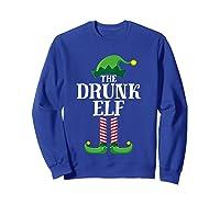 Drunk Elf Matching Family Group Christmas Party Pajama Shirts Sweatshirt Royal Blue