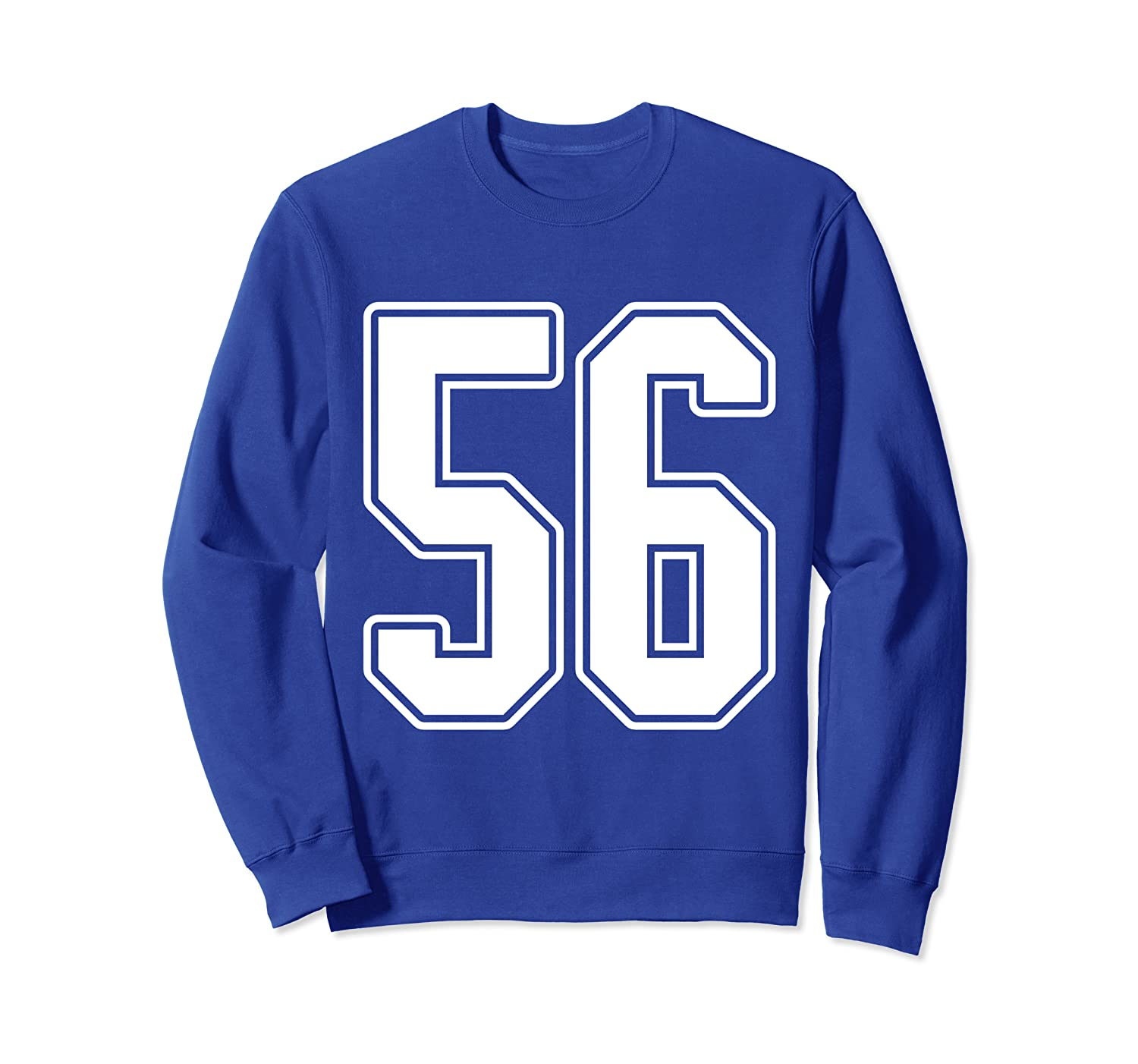 #56 White Outline Number 56 Sports Fan Jersey Style Sweatshirt-TH