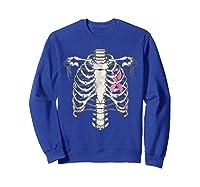 Skeleton Halloween Shirt Breast Cancer Awareness Month Tee Sweatshirt Royal Blue