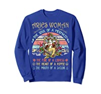 Aries Woman The Soul Of A Mermaid Vintage Mothers Day Shirts Sweatshirt Royal Blue
