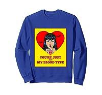 Halloween Bloody Not My Blood Type Vampire Graphic Shirts Sweatshirt Royal Blue