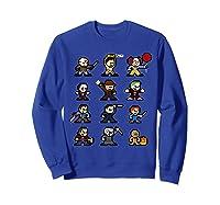 Friends Pixel Halloween Icons Scary Horror Movies Shirts Sweatshirt Royal Blue