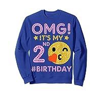 Cute Vintage Retro Emotion Face Omg It's My 2nd Birthday Shirts Sweatshirt Royal Blue