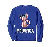 Patriotic 4th Of July Shirt Meowica American Flag Cat Lovers T-shirt Sweatshirt Royal Blue