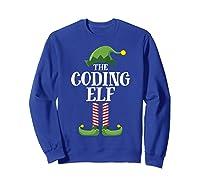 Coding Elf Matching Family Group Christmas Party Pajama Shirts Sweatshirt Royal Blue