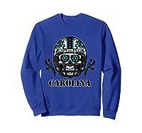 Carolina Football Helmet Sugar Skull Day Of The Dead T Shirt Sweatshirt Royal Blue