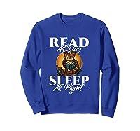 Sleep All Day Read All Night Bookish Read A Book Day Owl T Shirt Sweatshirt Royal Blue