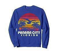Vintage Retro Pa City Fl Florida Sunset Distressed Style T Shirt Sweatshirt Royal Blue