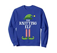 Knitting Elf Matching Family Group Christmas Party Pajama Shirts Sweatshirt Royal Blue