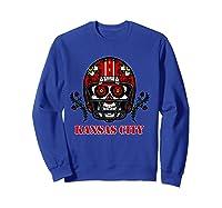 Kansas City Football Helmet Sugar Skull Day Of The Dead T Shirt Sweatshirt Royal Blue