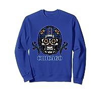 Chicago Football Helmet Sugar Skull Day Of The Dead T Shirt Sweatshirt Royal Blue