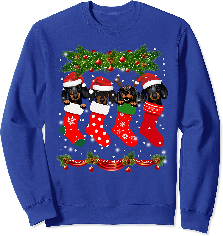 Funny Dachshund in Socks Christmas Dog Lovers Xmas Sweater Sweatshirt-TH