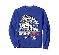 Grandmasaurus T Rex Grandma Saurus Dinosaur Grandmom Shirts Sweatshirt Royal Blue