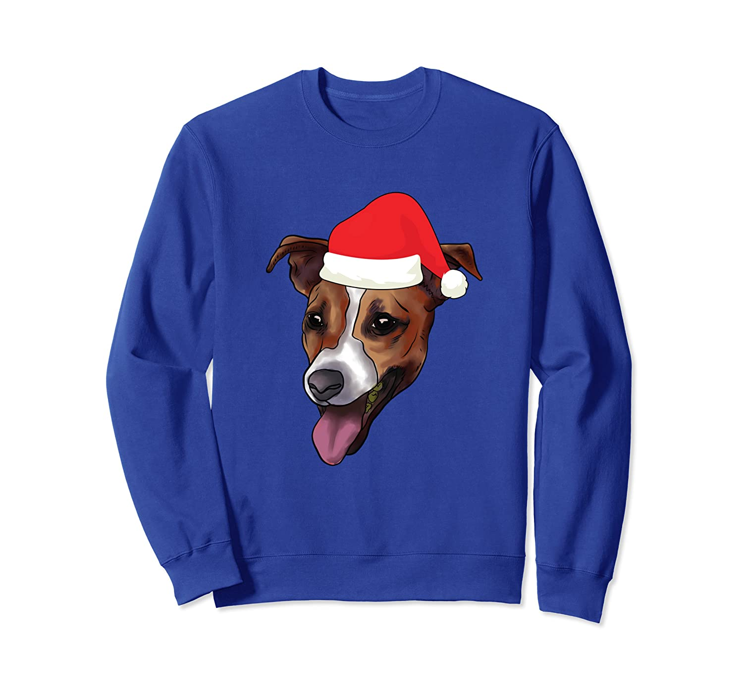 Jack Russell Terrier With Santa Claus Hat JRT Dog Christmas Sweatshirt