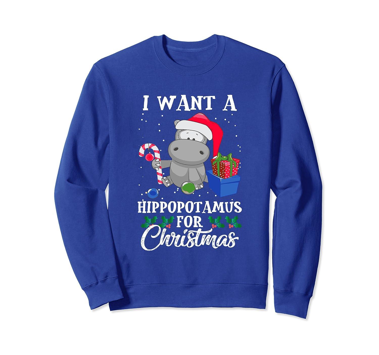 I Want A Hippopotamus For Christmas Hippo Gift Xmas Pajama Sweatshirt-TH