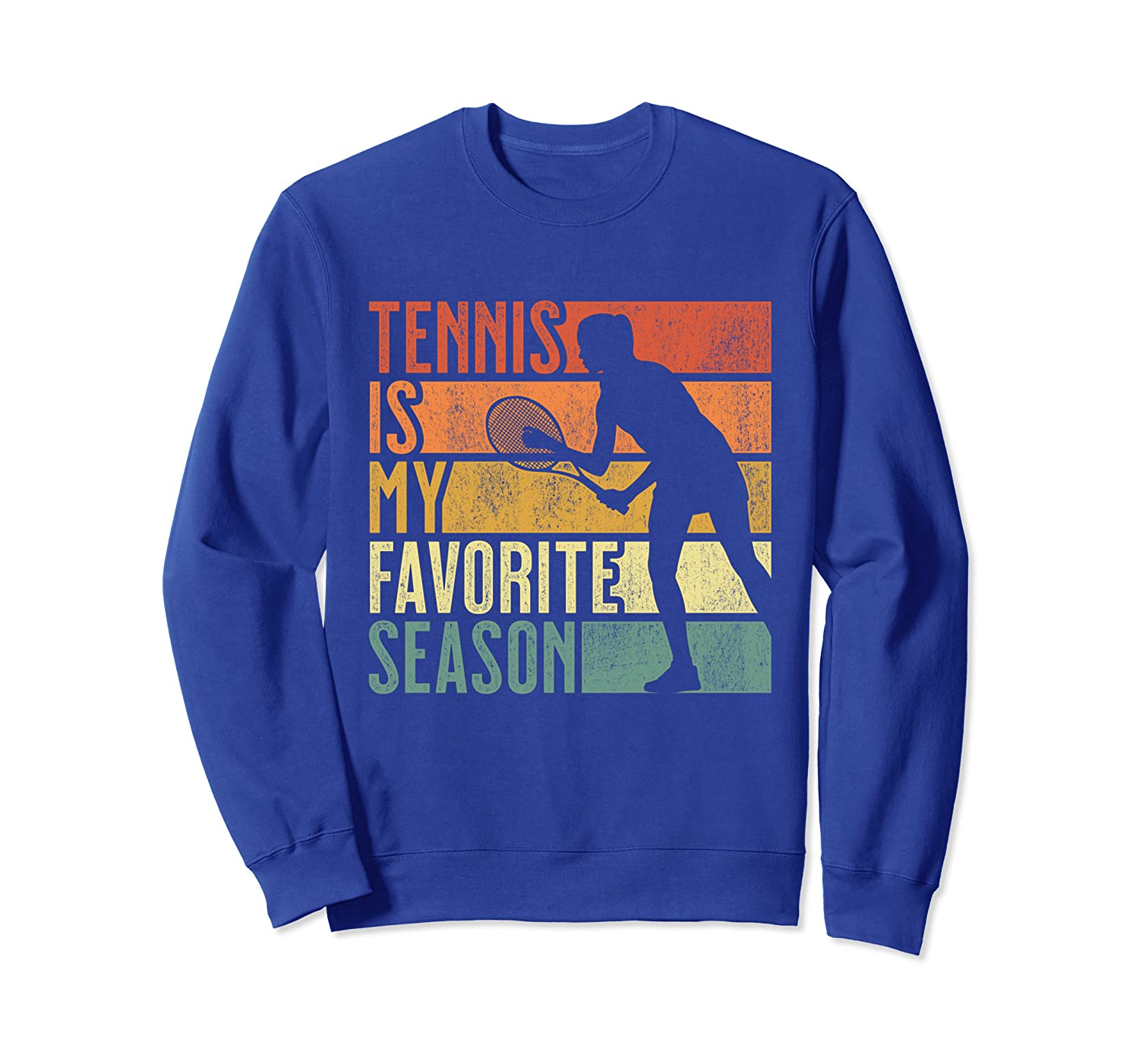 Womens Distressed Vintage Tennis Is My Favorite Season Gift Sweatshirt-TH