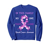 Family Support Breast Cancer Awareness Month Pink Ribbon Tee T Shirt Sweatshirt Royal Blue