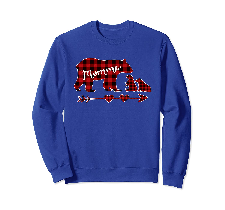 Red Plaid Momma Bear Two Cubs Christmas Pajama Sweatshirt