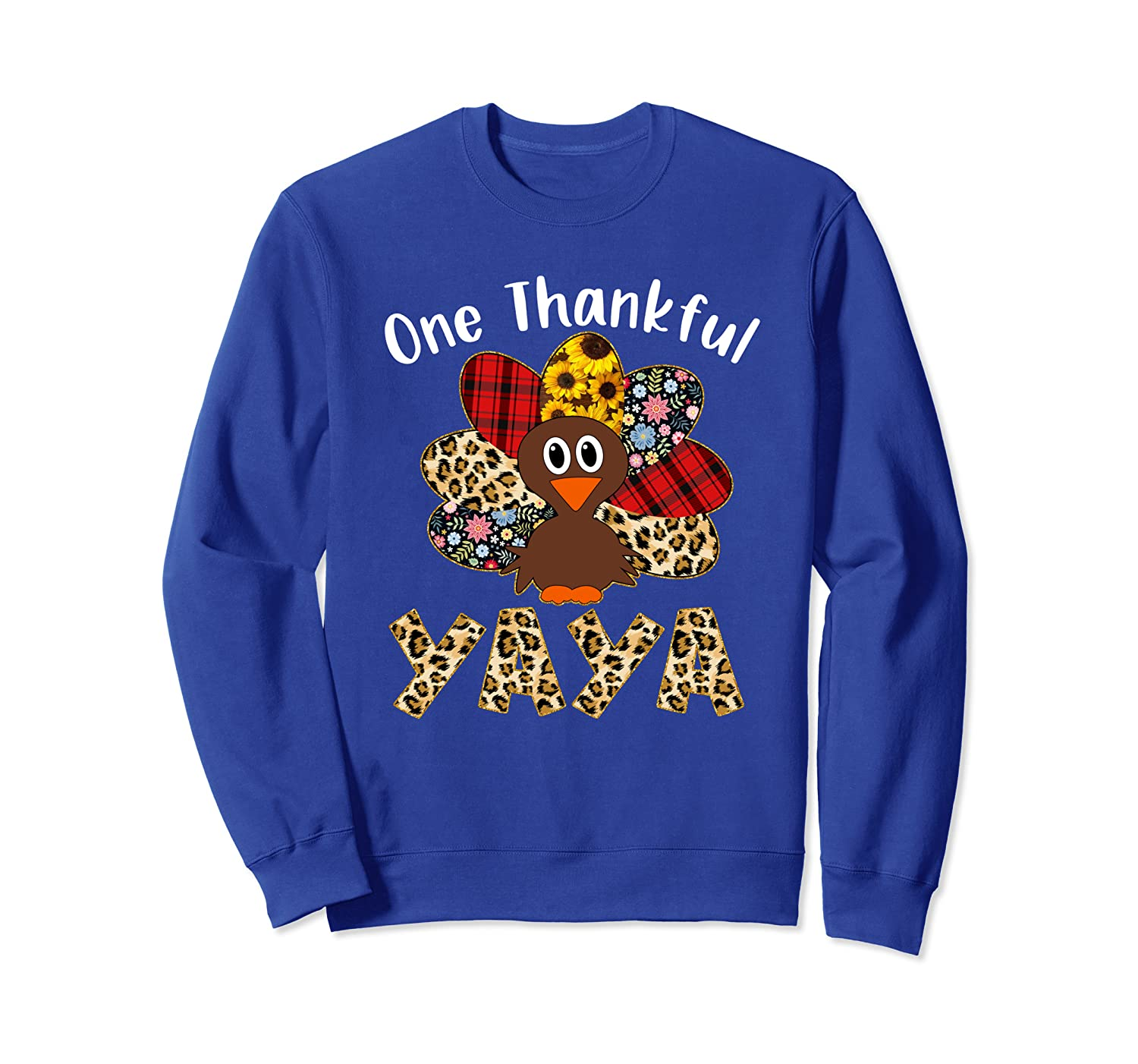 One Thankful Yaya Leopard Turkey Thanksgiving Yaya Gift Sweatshirt