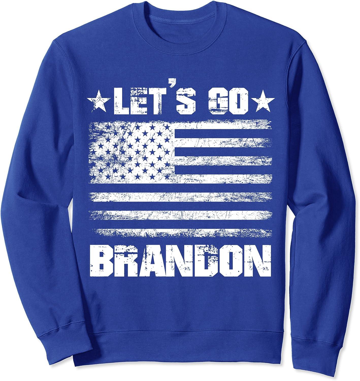 Let's Go Brandon Vintage US Flag Funny Conservative Gift Sweatshirt-TH