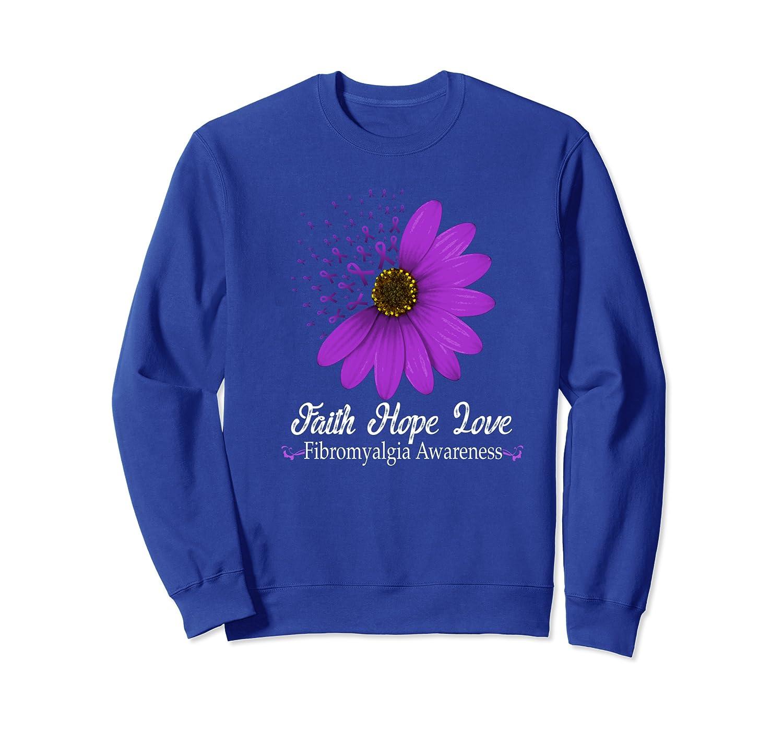 Fibromyalgia Awareness Faith Hope Love Purple Ribbon Pretty Sweatshirt