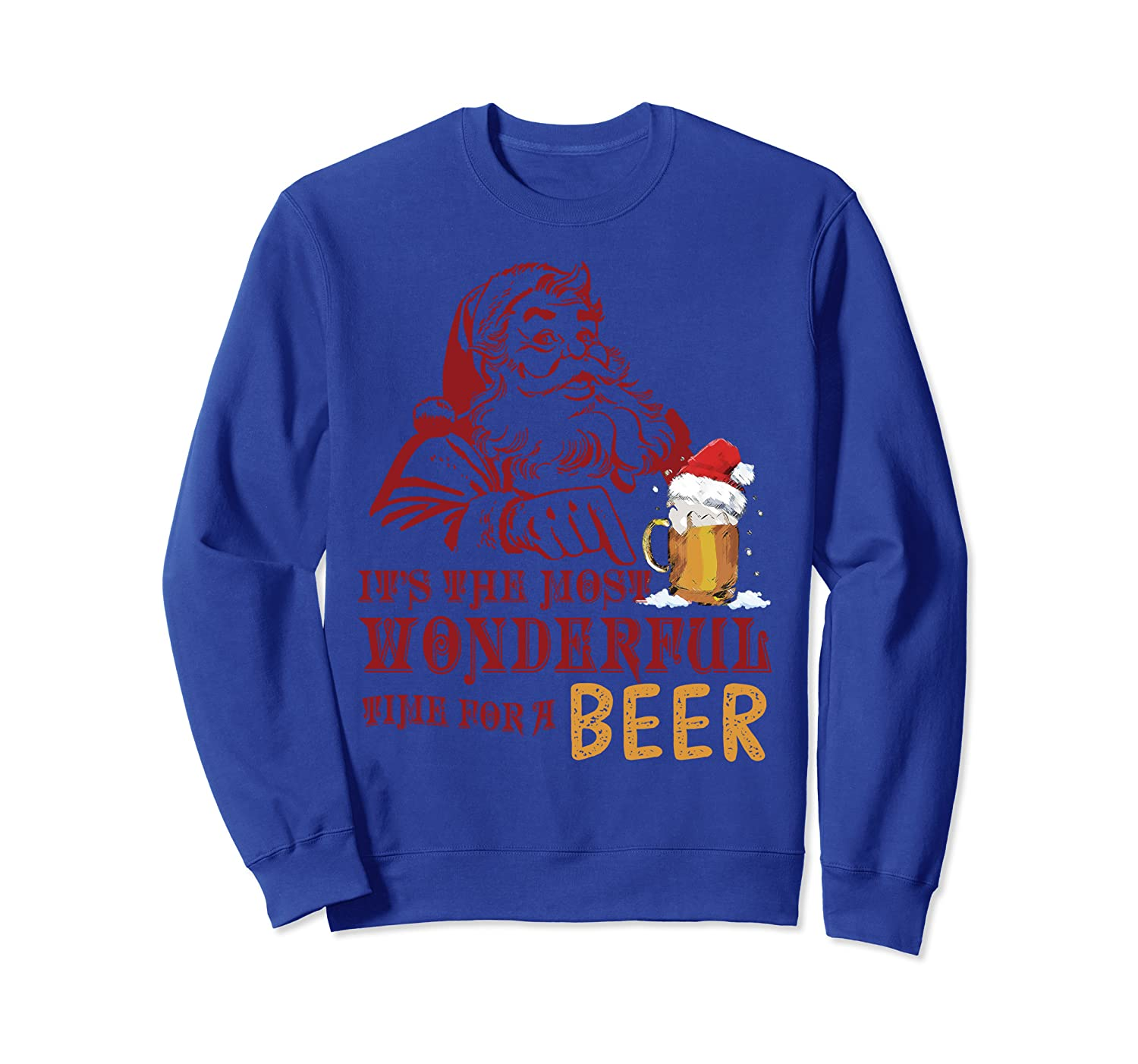Cute Santa It's The Most Wonderful Time For A Beer Sweatshirt-TH