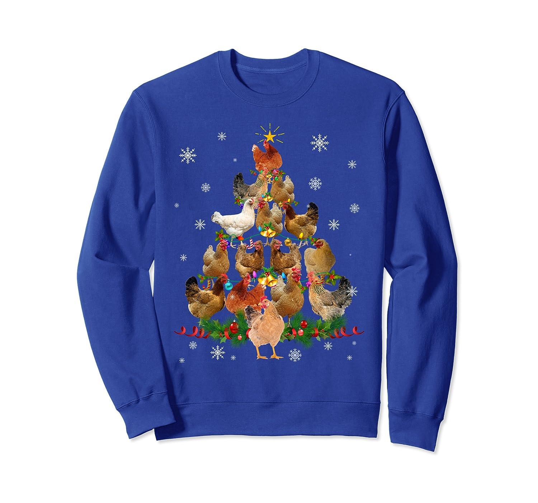 Chicken Christmas Tree Lights Funny Chicken Xmas Gift Sweatshirt-TH