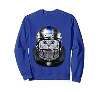 Cute Tabby Cat As American Football Player T-shirt Sweatshirt Royal Blue