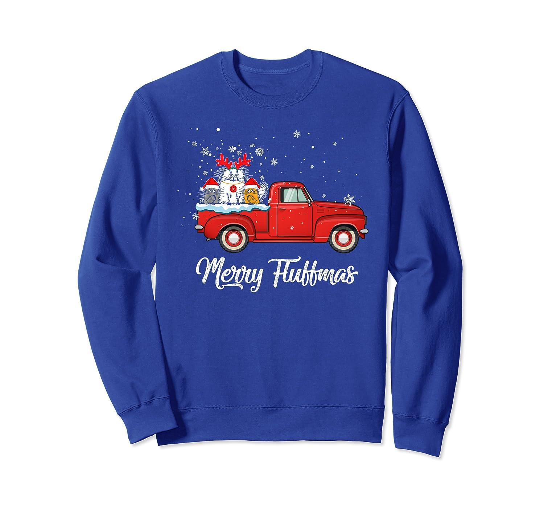 Christmas Cute Santa Cat Apparel Merry Fluffmas With Truck Sweatshirt-TH