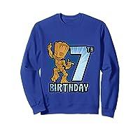 Guardians Of The Galaxy Baby Groot 7th Birthday Shirts Sweatshirt Royal Blue