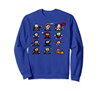 Friends Pixel Halloween Icons Scary Horror Movies Pullover Shirts Sweatshirt Royal Blue