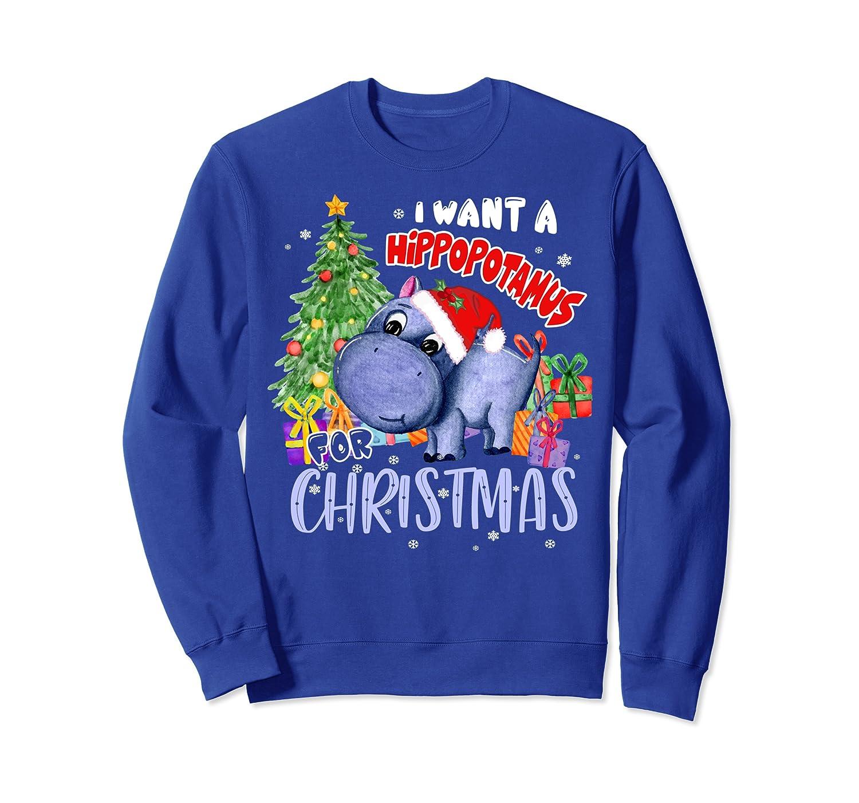 I Want A Hippopotamus For Christmas Hippo Xmas Season Pajama Sweatshirt-TH