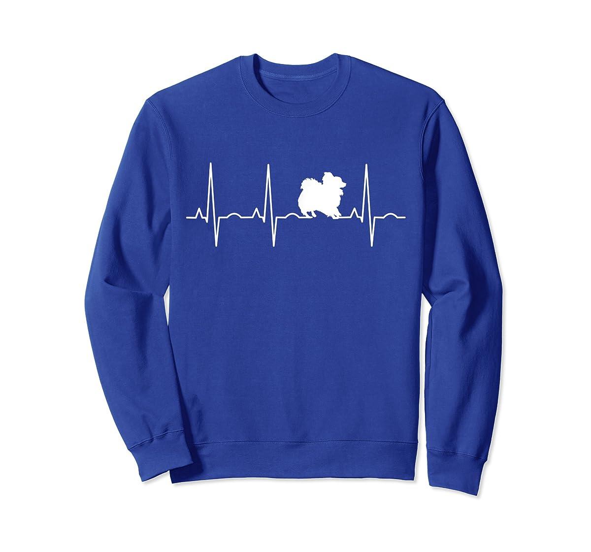 Pomeranian Heartbeat T-Shirt Pom Shirt Gifts Dog Lover-Sweatshirt-Royal