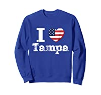 I Heart Love Tampa Patriotic Distressed Vintage T Shirt Sweatshirt Royal Blue