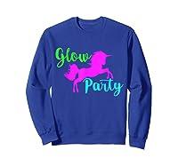 Colorful Glow Party 90's Unicorn Disco Style Dance Shirts Sweatshirt Royal Blue