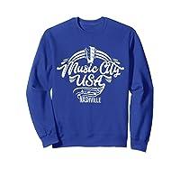 Music City Usa Nashville Retro T Shirt Sweatshirt Royal Blue