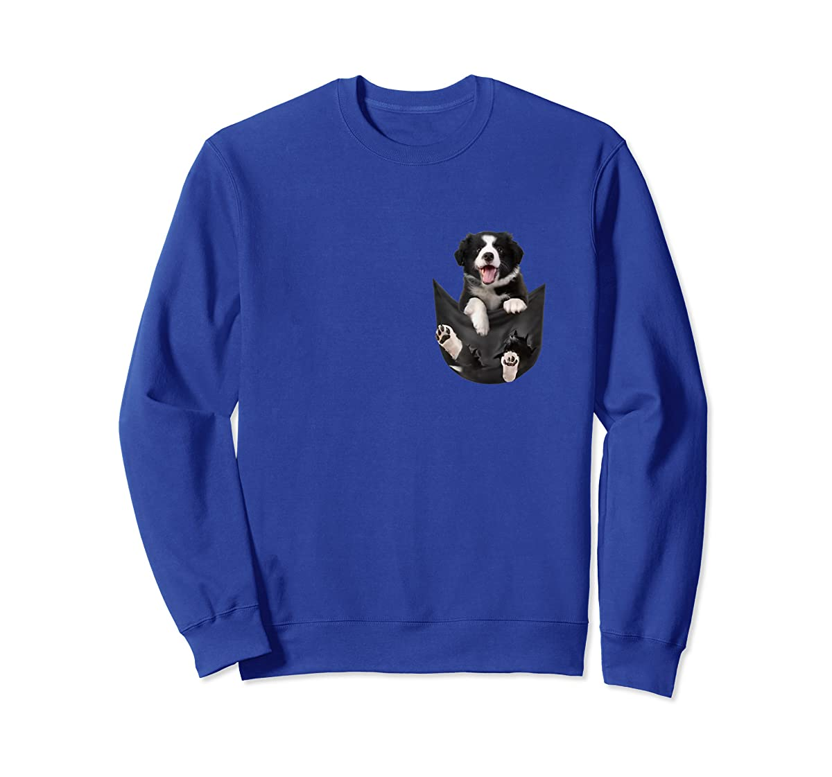 Border Collies Inside In Pocket Dog Lover T shirt Funny Cute-Sweatshirt-Royal