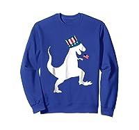 Fourth Of July Dinosaur Shirt Funny Amerisaurus Rex T-shirt Sweatshirt Royal Blue